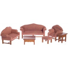 Aztec Imports- Red Plaid Living Room/6/Walnut