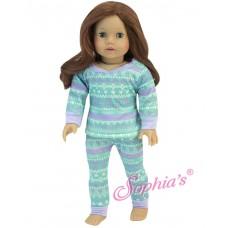 Sophia's- Aqua & Purple Print Pajama Set