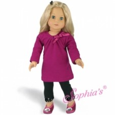 Sophia's- Berry Tee-shirt Dress and Black Leggings