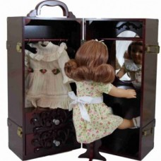 The Queen's Treasures- Deluxe Doll Clothes Mahogany Trunk