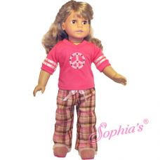 Sophia's®- Plaid PJ Pants & Peace Sign Tee