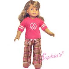 Sophia's®- Plaid PJ Pants & Peace Sign Tee