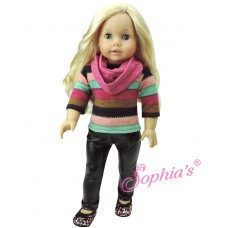 Sophia's- Stretch Leather Pants , Stripe Tunic Sweater & Infinity Scarf