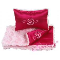 Sophia's- Pink Fur & Satin Reversible Bedding Set